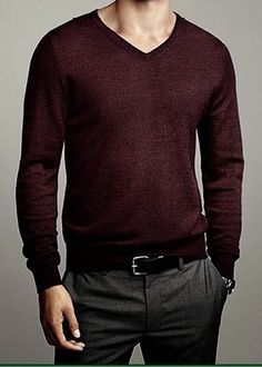 Try a fine gauge V neck sweater with your dress trousers for a dress casual look!