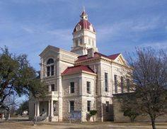 Bandera County Courthouse- Bandera, Texas, Date - 1890, Architect - B. F. Trester, Style - Renaissance Revival, Material - Native limestone. Photo courtesy Terry Jeanson.