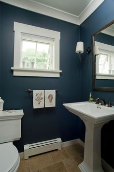 Coastal Home - Seaside Home - Bathroom - Pedestal Sink - Nautical Hand Towels - Custom Trim - Single Arm Sconce with Drum Shade - Navy - Blue