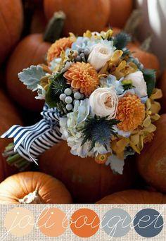 Orange & Blues bridal bouquet