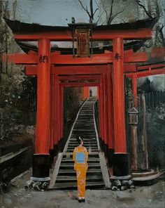 #kamiargajoum #gajoum #art #artoftheday #oilpainting #paintingoftheday #contemporaryart #fushimiinari #orange #kyoto #japan #japanese #beautiful #kimono #print #lady #romantic #flowerprint #nature #京都 #神社 #伏見稲荷大社 #着物 #日本 #文化 #綺麗 Romantic, Cabin, Park, House Styles, Things To Sell, Home Decor, Cabins, Parks, Cottage