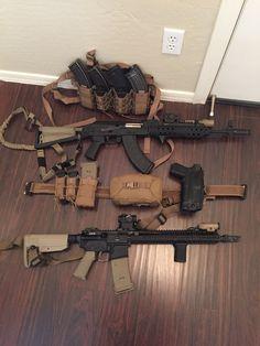 "BCM 14.5"", Atlantic Arms Polish side folder, HSGI Small AO, TYR Gunfighter belt."