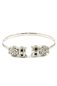 Crystal Owl Cuff in Silver