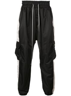 Black and wildflower pink cargo parachute cargo pants from Daniel Patrick featuring an elasticated waistband with a drawstring fastening, side slit pockets, a hanging tassel, side flap pockets, a back welt pocket and ribbed cuffs. Daniel Patrick, Cargo Pants, Welt Pocket, Size Clothing, Baby Design, Black Pants, Women Wear, Mens Fashion, Fashion Design