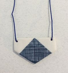 Half Hexagon Patterned Porcelain Pendant with Blue by ByeByeBelle