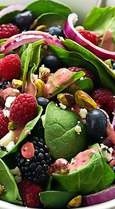 berry pistachio spinach salad with berry vinaigrette | salad, appetizer, side dish recipe