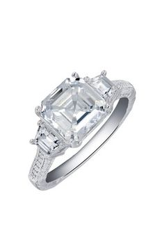 Sterling Silver Micro Pave Simulated Diamond Asscher Cut Center Ring