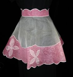 Vintage 1950's Light Pink and White Flared Organdy Apron