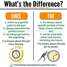 Difference between SINCE and FOR English video lesson + transcript + examples. Learn how to use SINCE and FOR correctly. English Grammar Rules, Teaching English Grammar, English Verbs, English Writing Skills, English Language Learning, English Phrases, Learn English Words, English Study, English Lessons