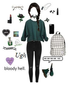 """Slytherin aesthetic"" by myintrovertedself ❤ liked on Polyvore featuring River Island, Casetify, Lipstick Queen, Topshop, NARS Cosmetics, Dr. Martens and Polaroid"