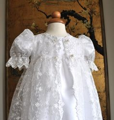 Christening Dress with Lace Overcoat and Matching by DeniSue4U, $165.00