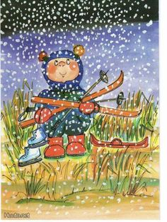 Postcrossing postcard from Finland First Snow, Joko, Whimsical Art, Vintage Pictures, Winter Season, Doll Patterns, Thank You Cards, Kids Toys, Illustration Art