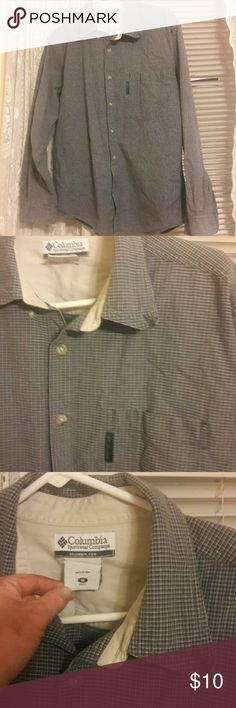 Barely worn co Columbia  button down Great condition colors seem to be grey blueish & black with white underneath Columbia Shirts Casual Button Down Shirts