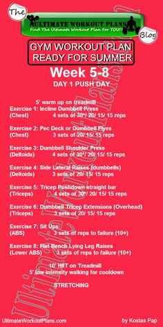 3 Month Women Workout Plan Week 5-8 Day 1: Push Day. FREE Printable workout template to have it always with you!!! #fitness #printableworkouts #workouts #ultimateworkoutplans #kostaspap