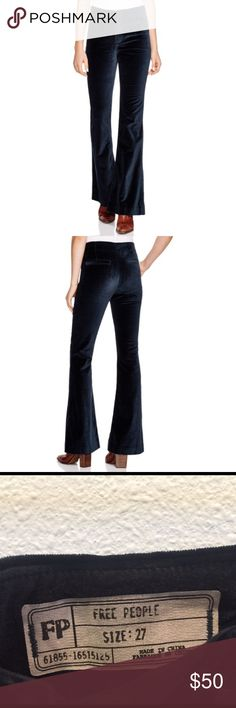 Free People velvet flared pants Super soft velvet! Great looking pants to dress up or not. The color is jewel green. The fit is awesome! Free People Pants Boot Cut & Flare