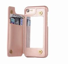 Rose gold retro mirror wallet iphone case - cases a la mode Girly Phone Cases, Iphone Cases Cute, Iphone Wallet Case, Iphone 7, Gifts For Techies, Techie Gifts, Portable Phone Charger, Retro Mirror, Phone Gadgets