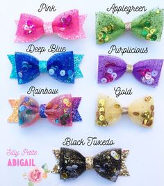 Items similar to Rainbow Bow, Tulle Bow, Glitter sequin bow, Rainbow Hairclip with/without Tail on Etsy Tulle Hair Bows, Diy Hair Bows, Diy Bow, Diy Ribbon, Bow Hair Clips, Ribbon Crafts, Ribbon Bows, Headbands For Short Hair, Rainbow Bow