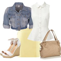"""Yellow and Denim"" by glamatarian on Polyvore"