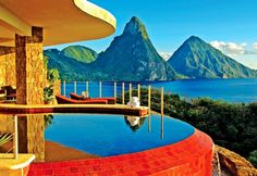 Jade Mountain Resort in St. Lucia and Jade Mountain Resort is within my reach! Can't wait to try out my private infinity pool while enjoying the magnificent view. Santa Lucia, Jade Mountain St Lucia, Best Honeymoon Destinations, Dream Vacations, Vacation Spots, Honeymoon Ideas, Romantic Honeymoon, Romantic Getaways, Honeymoon Hotels