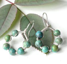 Silver turquoise earrings  sterling hoops & by dalystudios on Etsy, $22.00