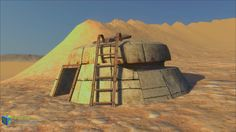 The SKIES. Crater town. Abdandoned building