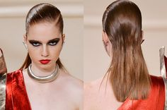 Saint Laurent brought a lit 80s house party to the AW16 catwalk this season. Complete with dramatic eyes and major accessories, the power point to this look was slick-as hair. Combed back with gel on top and poker straight ends at back, nothing says boss louder than this