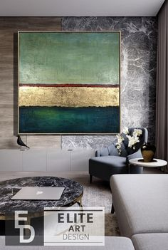 Modern Abstract Painting On Canvas Gold Abstract Painting Abstract Painting Goldleaf Simple Abstract Art Minimal Abstract Art Huge Wall Art - Painting Painting Edges, Acrylic Painting Canvas, Painting Frames, Canvas Artwork, Green Paintings, Unique Paintings, Oil Paintings, Landscape Paintings, Indian Paintings