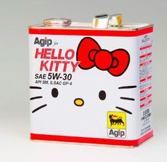 hello kitty engine oil... so this is what my car is missing.