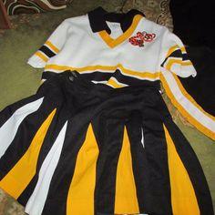 Vtg'70s Cheerleader Uniform Blue White Gold East Springfield Tigers Ohio | eBay Cheerleading Uniforms, White Gold, Blue And White, Tigers, Online Price, Cheer Skirts, Ohio, Best Deals, Ebay