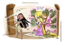 Pocket Princesses by Amy Mebberson  # 43- If Disney princesses lived together: Pocahontas and Rapunzel