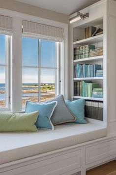 Instead, turn the space into a comfy window seat. Here we listed window seat ideas to help you create one Bedroom Windows, Bay Windows, Home Windows, Cozy Nook, Bedroom Decor, Bedroom Bed, Bedroom Lighting, Bedroom Seating, Wall Decor