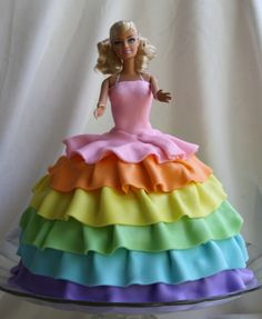 Rainbow barbie cake for E with pink cake on the inside