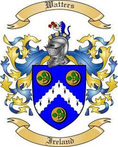 "Ireland: Watters. Arms: Sa. on a fess wavy argent between three swans of the second two bars wavy azure. Motto: ""Toujours Fidele"", (Always Faithful). Crest: Waters — Ireland, an eagle rising regardent — ppr — spiro spero. Waters, Ireland, a demi-heraldic tiger per pale indented argent, and azure, holding a branch of three red roses slipped, ppr."