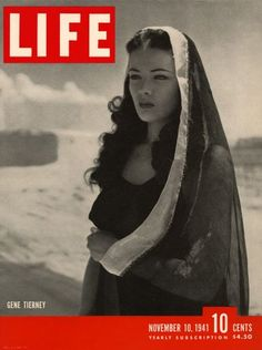 Gene Tierney in Life Magazine, November Hollywood Stars, Hollywood Glamour, Young Actresses, Hollywood Actresses, Actors & Actresses, 1940s Actresses, Gene Tierney, Vintage Hollywood, Classic Hollywood