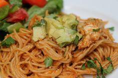 Totally making this when Matt gets home! Just need avocado & cilantro! Yummy! chicken enchilada spaghetti!