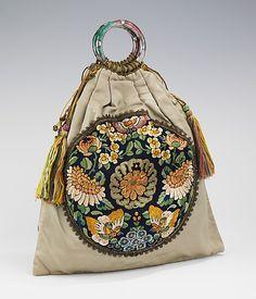 Evening bag Date: 1920–29 Culture: probably American Medium: silk, metal, glass