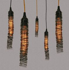 Pendant Light - Scribble Series, would be fun to make with multiple size wires. old bed springs, fine wire etc. Diy Luminaire, Luminaire Design, Wire Pendant Light, Pendant Lighting, Dining Pendant, Pendant Lamps, Light Fittings, Light Fixtures, Cool Lighting