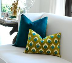 """Might be perfect for that couch.   ANY SIZE - Peacock Velvet pillow cover - 18""""x18"""", 20""""x20"""",13""""x20"""", 14""""x20"""" or 14""""x22"""" via Etsy"""