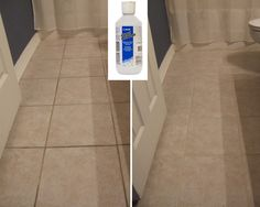 "Another pinner says...""Grout Refresh - Got it at Lowe's for about $10.00.  I did this bathroom floor in about 15 minutes!"""