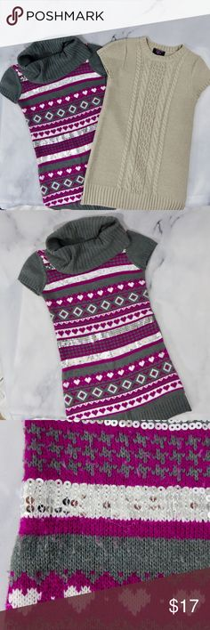 👧🏼GIRLS SWEATER DRESSES BUNDLE OF 2 TURTLENECK 👧🏼GIRLS KIDS SWEATER DRESSES BUNDLE OF 2 TURTLENECK👧🏼 Both size 10/12. Beige sweater in excellent condition. The gray and pink sweater has sequins and hearts, it has some pilling throughout but still very nice!  Both soft and stretchy. All my items are kept in a clean house that's free of smoke and pets. NCMCOLLECTIONS 👧🏼 Shirts & Tops Sweaters
