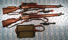 """Long Branch No. 4 MK.I* (T) Trade Pattern. Two of the 350 sniper rifles built by Canada that were fitted with U.S. made Lyman Alaskan No. 32 TP MK. I scope. Both sets are matching. The two """"orphaned"""" scopes are originals. The upper one is in a Roger Payne"""