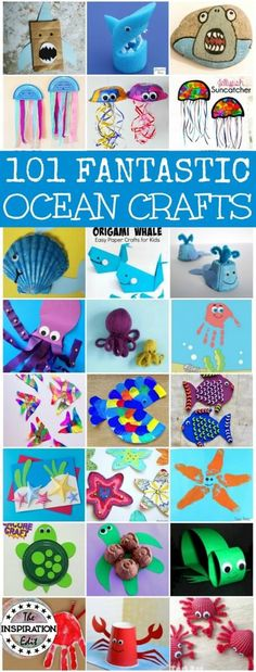 101 Fantastic Ocean Craft Ideas for preschool and older kids. These fun Childrens Activities and kids craft ideas are great for the preschool setting and for the home. Make an ocean themed collage and check out the amazing ideas in this post. Arts And Crafts For Teens, Art And Craft Videos, Easy Crafts For Kids, Toddler Crafts, Craft Ideas For The Home, Ocean Crafts For Teens, Older Kids Crafts, Quick Crafts, Children Crafts