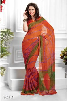 Designer #Orange & Green Colour Printed #Saree  Orange & Green ,printed fashion saree, has contrast print detail along the borders Comes with a blouse piece.Length: 5.5 metres plus 0.80 metre blouse piece.Available in 35% Discount @aimdeals