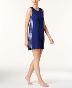 Nautica Side-Striped Knit Chemise - Blue XXL