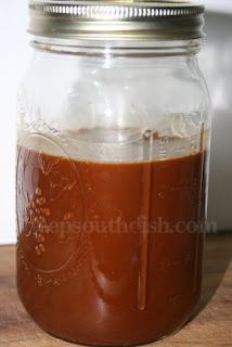 Easy Dark Oven Roux  See that chocolately brown jar of lovely goodness? This, my friends, is pure gold to a southern cook! What is it you say? It is a deep, dark red Cajun roux, and one that is most appropriate for gumbos or meaty stews. It's a roux that is time consuming to achieve on the stove top, taking a great deal of patience, and a lot of attention to get to the right color without burning it or yourself.