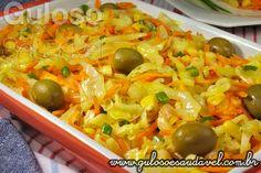 Receita de Salada de Repolho Refogado Vegetarian Recipes, Cooking Recipes, Healthy Recipes, Portuguese Recipes, Light Recipes, Food Inspiration, Salad Recipes, Good Food, Easy Meals