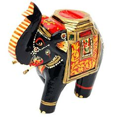 Hand Painted Wooden Elephant Small : Wooden Showpieces