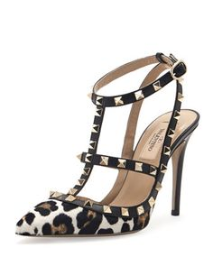 Rockstud Calf Hair Slingback Sandal, Leopard by Valentino at Neiman Marcus.