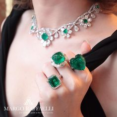 "965 Likes, 11 Comments - Moussaieff Jewellers (@moussaieffjewellers) on Instagram: ""Margo Raffaelli shows off some magnificent emerald rings on a visit to the Moussaieff flagship…"""