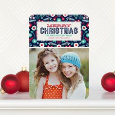 'Lush Christmas' #Christmas Cards feature a bright baltic blue design. Simply add your favorite photo and personalize!